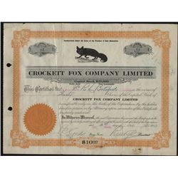 Crockett Fox Company Stock Certificate