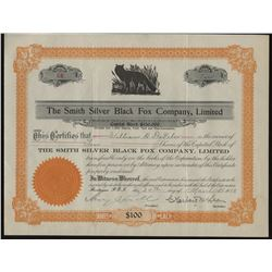 The Smith Silver Black Fox Company Stock Certificate