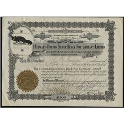 The Howatt-Dalton Silver Black Fox Company Stock Certificate