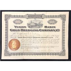 Yukon Basin Gold Dredging Co. Stock Certificate