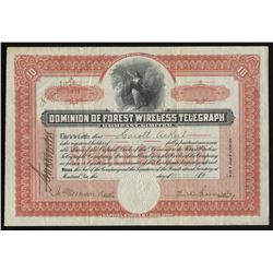 Dominion deforest Wireless Telegraph Co. Ltd. Stock Certificate