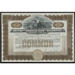 British & Colonial Land & Securities Co. Ltd. Stock Certificate
