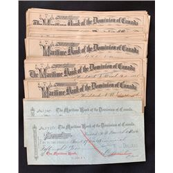 The Maritime Bank of the Dominion of Canada, Cheques.