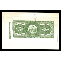 Merchants Bank of Canada, $5 1917 back proof.