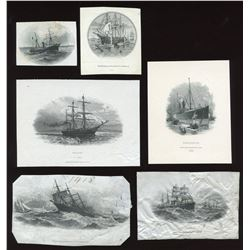 Die Proof Vignettes:  six different ship vignettes