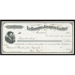 La Banque Jacques Cartier, Illustrated Cheque 188_, Proof