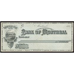 Bank of Montreal, Proof Cheque, 188_,