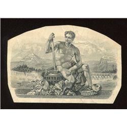 Die proof vignette, allegorical male quite similar to vignette on backs of 1935 and 1937 $5.