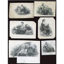 Six Different Die Proof Vignettes - Allegorical Women.