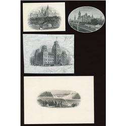 Four Different Die Proof Vignettes - Places.