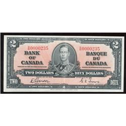 1937 Bank of Canada $2 - Low Serial Number