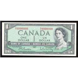 1954 Bank of Canada $1 - One Digit Solid Radar