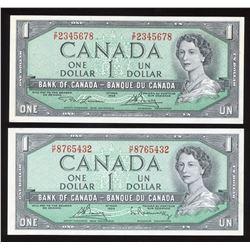 1954 Bank of Canada $1 - Ascending & Descending Ladder Notes