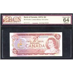 1974 Bank of Canada $2 - One Digit Solid Radar