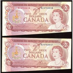 1974 Bank of Canada $2  - Cut Out of Register Pair