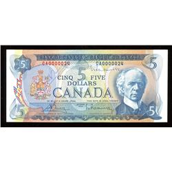 1972 Bank of Canada $5 - Autographed with Low Serial Number