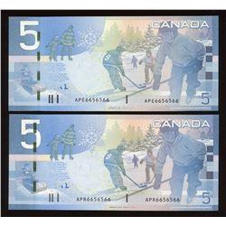 Matching Numbers - Bank of Canada $5, 2006 Radar Set