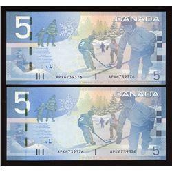 Matching Number Bank of Canada $5, 2006 Matched Number Radar Set
