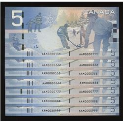 2006 Bank of Canada $5 - Low Serial Numbered Group of 7 Notes