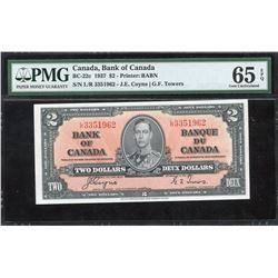 Bank of Canada $2, 1937 - Transitional Prefix