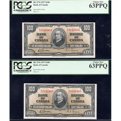 Bank of Canada $100, 1937 - Lot of 2 Consecutives