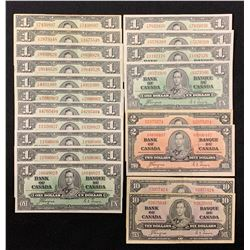 Bank of Canada 1937 - Wholesale Lot of 19 Notes