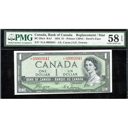 Bank of Canada $1, 1954 - Devil's Face Replacement