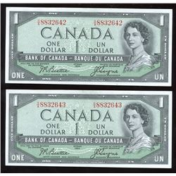 Bank of Canada $1, 1954 - Devil's Face - Lot of 2 Consecutives