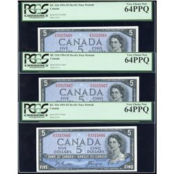 Bank of Canada $5, 1954 Devil's Face - Lot of 3 Consecutives