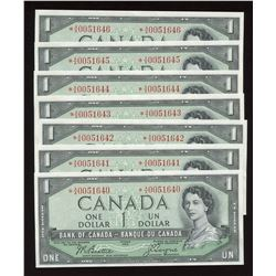 Bank of Canada $1, 1954 - Replacement Lot of 7 Consecutives