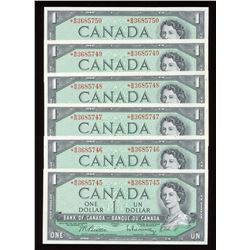 Bank of Canada $1, 1954 *B/M Replacement, 6 Consecutive