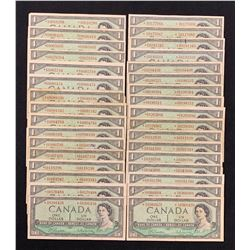 Bank of Canada $1, 1954 - Lot of 33 Replacement *S/O Notes