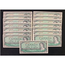 Bank of Canada $1, 1954 - Lot of 15 Transitional Prefix H/M