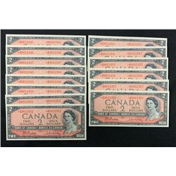 Bank of Canada $2, 1954 - Lot of 14 Replacement Notes