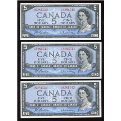 Bank of Canada $5, 1954 - Lot of 3 Consecutives