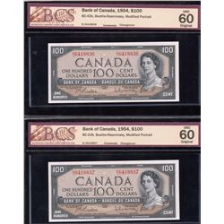 Bank of Canada $100, 1954 - Lot of 2 Consecutives
