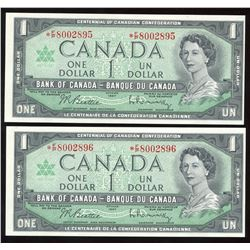 Bank of Canada $1, 1967 - Replacement Lot of 2 Consecutives