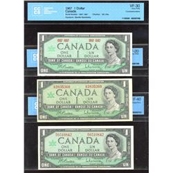 Bank of Canada $1 1967 - Lot of 7, includes cut out of register error