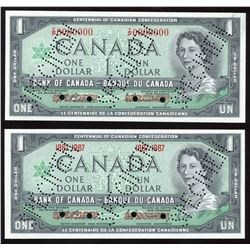 Bank of Canada $1, 1967. Specimen Pair