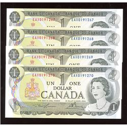 Bank of Canada $1, 1973 - Lot of 4 Consecutive Replacement Notes