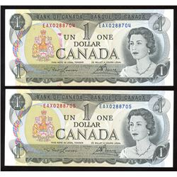 Bank of Canada $1, 1973 - Lot of 2 Consecutive Replacement Notes