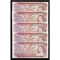 Bank of Canada $2, 1974 - Lot of 5 Consecutive Replacement Notes