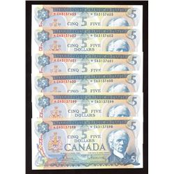 Bank of Canada $5, 1972 - Lot of 6 Consecutive Replacement Notes