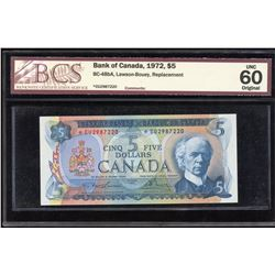 Bank of Canada $5, 1972 Replacement Note