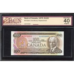 Bank of Canada $100, 1975 AJX Replacement