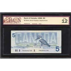 Bank of Canada $5, 1986 FNX Replacement