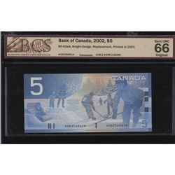 Bank of Canada $5, 2002 Replacement