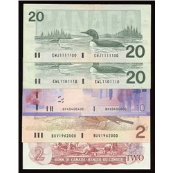Interesting Numbers - Bank of Canada, $5 Banknote Collection