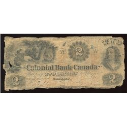 Colonial Bank of Canada $2, 1859, Two Signatures