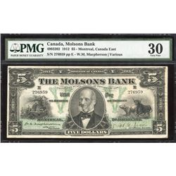 The Molsons Bank $5, 1912